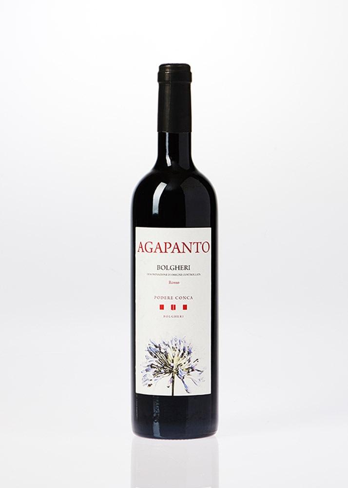 Bottiglia di vino rosso Agapanto Bolgheri DOC