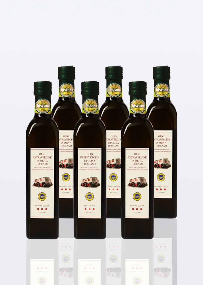 6 bottiglie di olio extravergine di oliva IGP Toscano da 0,50 lt