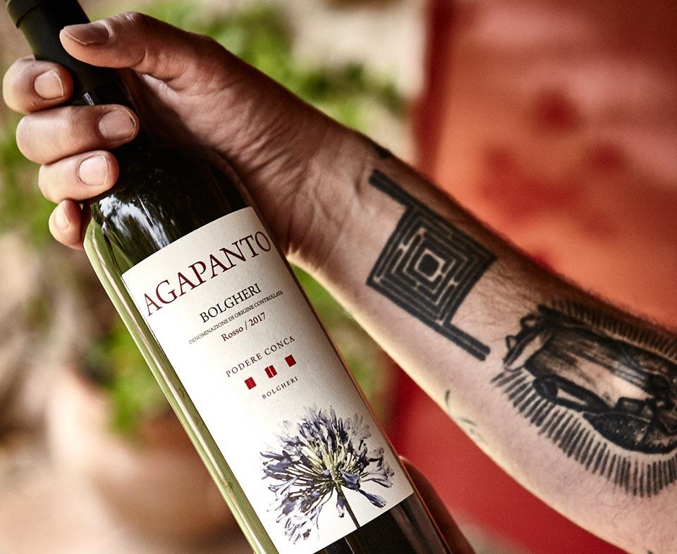 Podere Conca Bolgheri bottiglia di vino rosso Agapanto