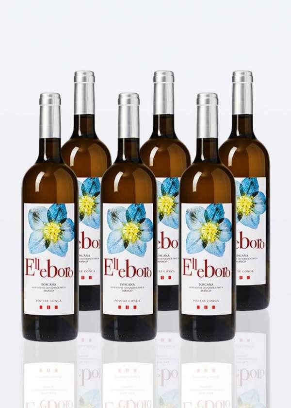 6 bottiglie di vino bianco Elleboro IGT toscana