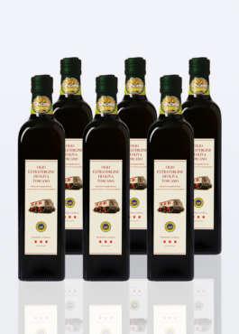 6 bottiglie di olio extravergine di oliva IGP Toscano da 0,75 lt