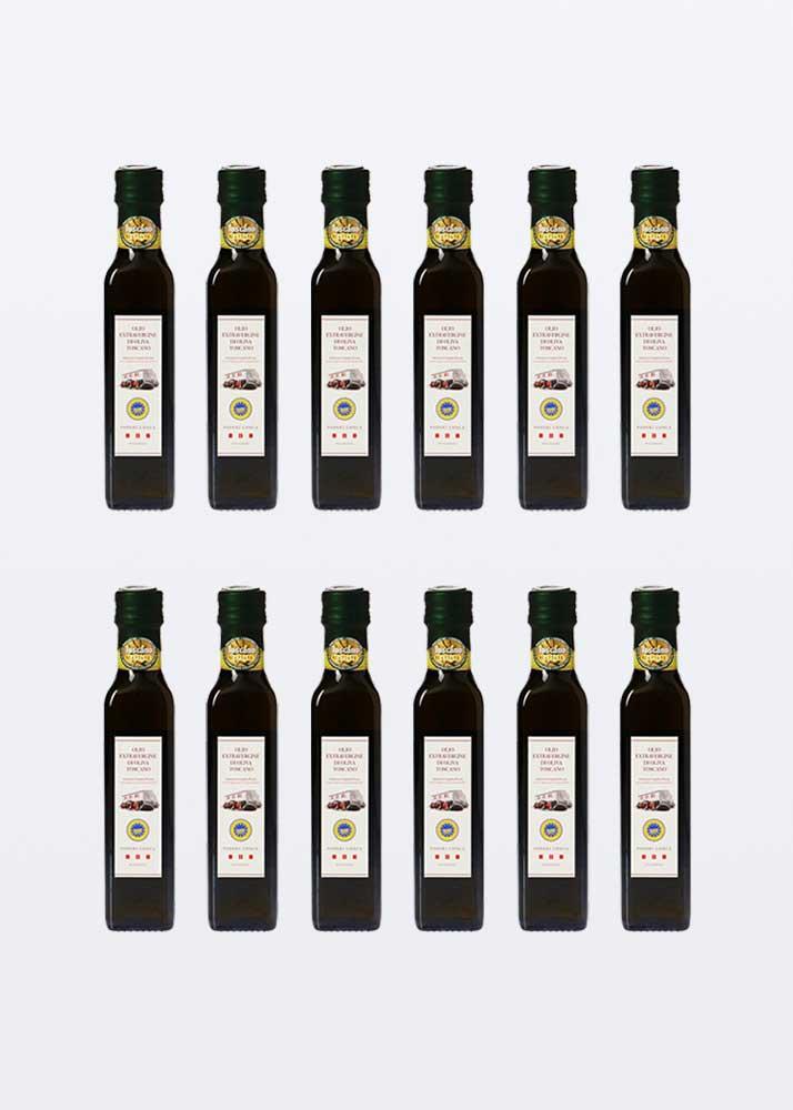 12 bottiglie da 0,25 litri di olio extra vergine di oliva IGP toscano