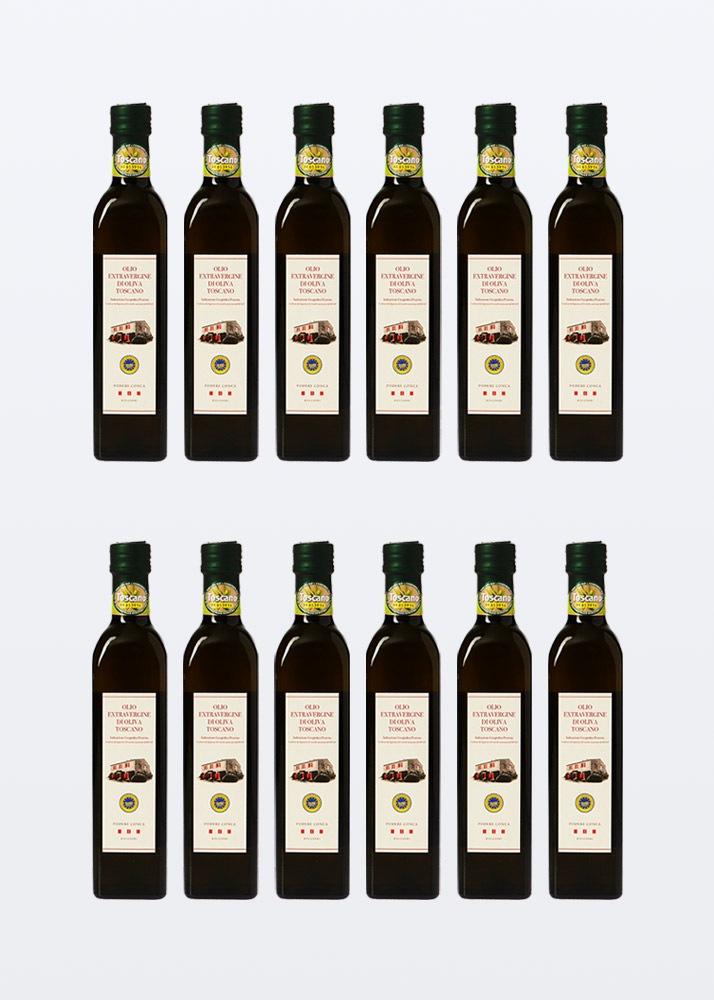 12 bottiglie da 0,50 litri di olio extra vergine di oliva IGP toscano