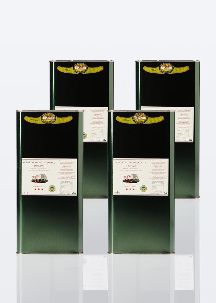 4 latte da 5 litri di olio extra vergine di oliva IGP toscano