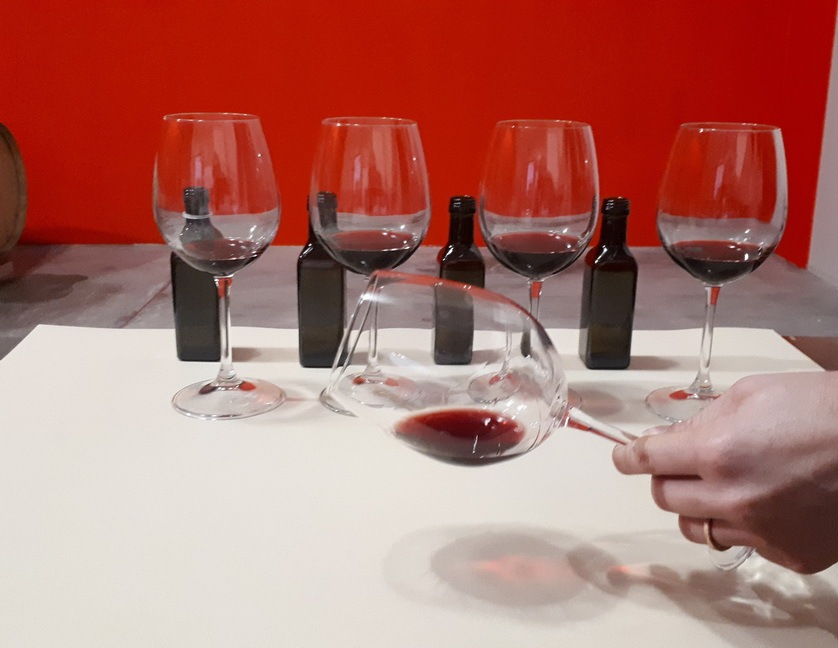 Checking the wine colour in the glass