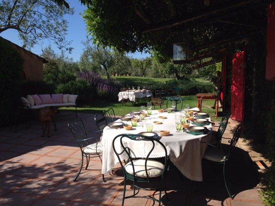Wine tasting in Podere Conca's garden