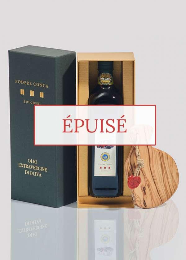 Boîte-cadeau huile olive extra vierge BIO IGP Toscane planche à découper épuisé