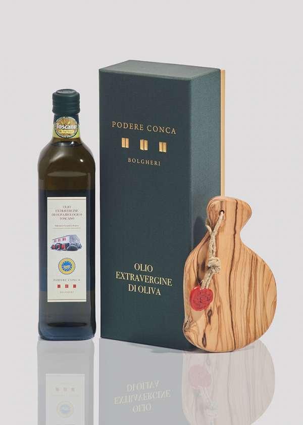Boîte-cadeau huile olive extra vierge BIO IGP Toscane planche à découper
