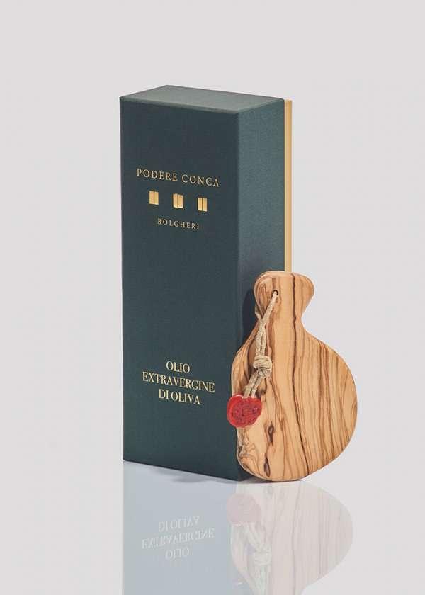 Boîte-cadeau huile olive extra vierge BIO Toscane planche à découper
