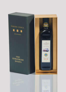 Open gift box with Organic Extra Virgin Olive Oil