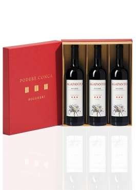 Boîte-cadeau 3 Agapanto Bolgheri DOC Vin Rouge