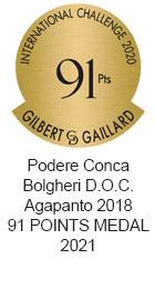Premio Bolgheri D.O.C. Agapanto 2018 91 POINTS MEDAL 2021